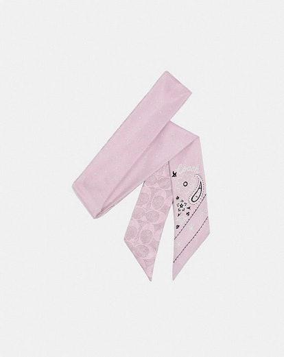 Bandana Print Silk Skinny Scarf
