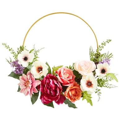 "Faux Peony & Rose Metal Ring Asymmetrical 17"" Wreath"