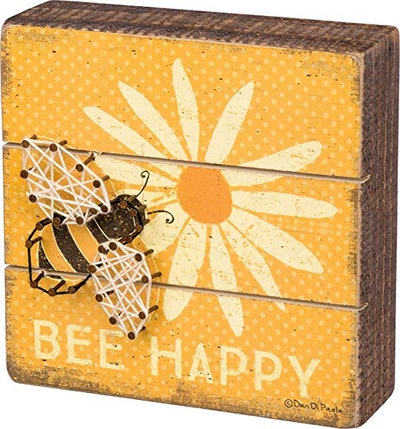"Primitives by Kathy Slat Box Sign - Bee Happy Size: 6"" Square with String Art Bee!"