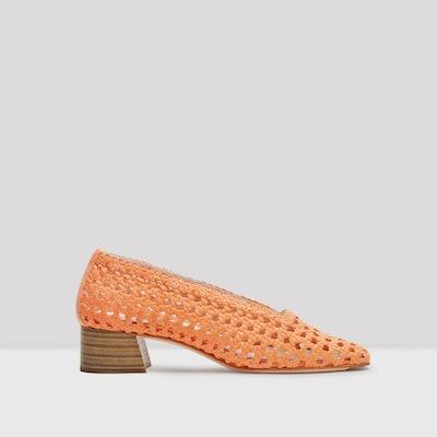 Taissa Neon Orange Leather Mid-Heels
