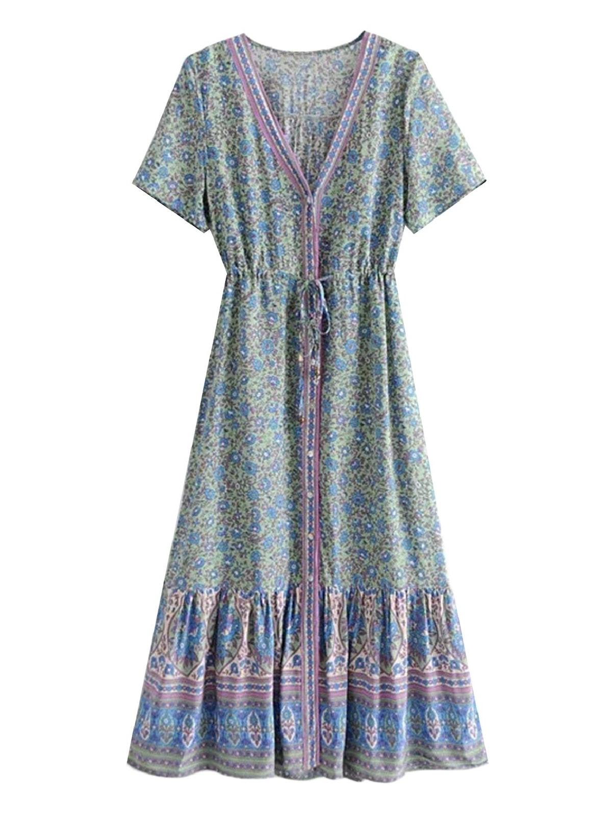 'SCARLET' FLORAL PRINT TIE WAIST MAXI DRESS