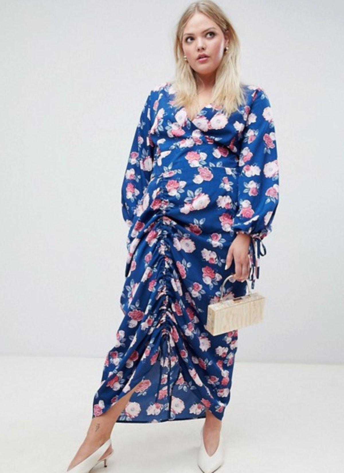 Unique 21 Hero floral ruched maxi dress