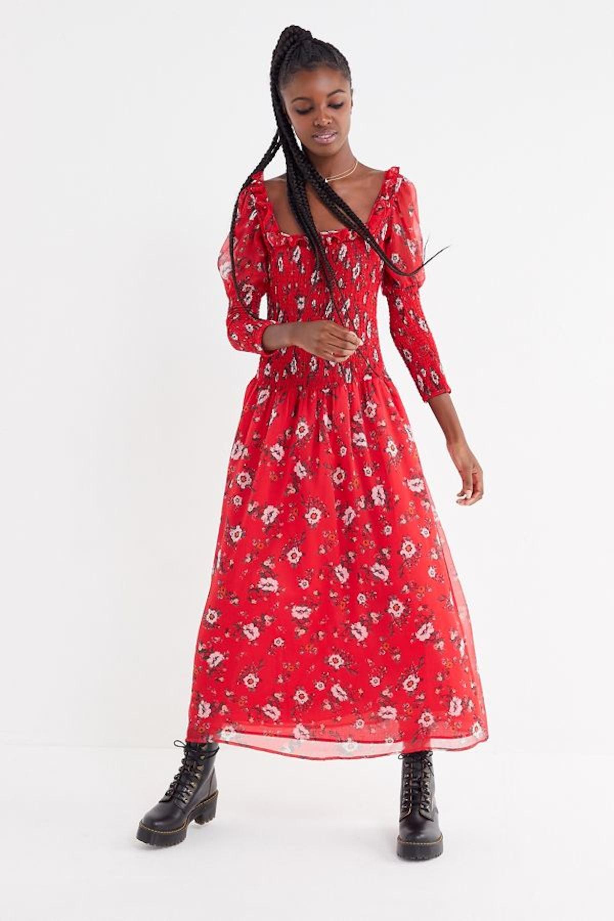 UO Greta Floral Smocked Puff Sleeve Maxi Dress