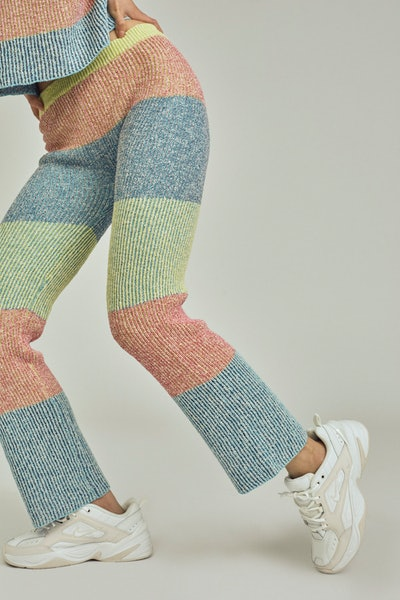 Two Tone Tweed Striped Pant In Multicolor