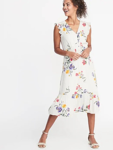 Waist-Defined Flutter-Sleeve Midi for Women