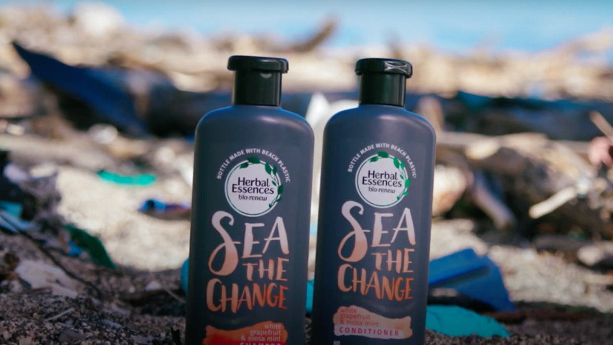 Herbal Essences Beach Plastic Collection Bottles Are Made From Recycled Plastic Cleaned From Beaches