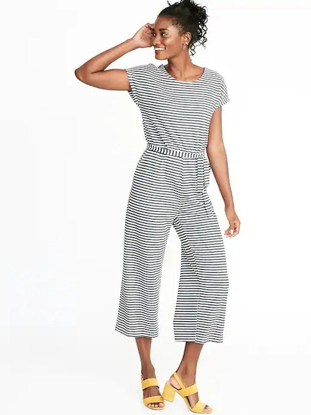 Textured Bouclé Wrap-Back Tie-Belt Jumpsuit for Women