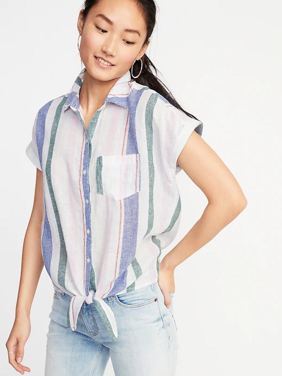 Patterned Tie-Hem Linen-Blend Shirt for Women