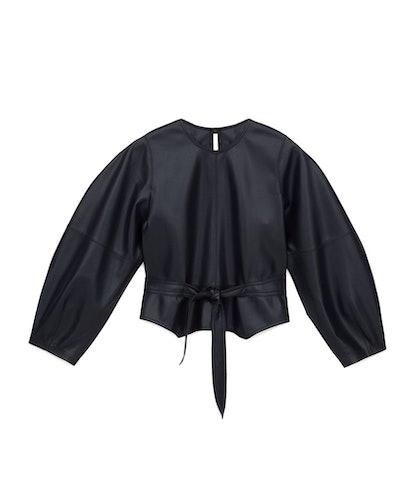 Navy Corsa Balloon-Sleeve Vegan Leather Top