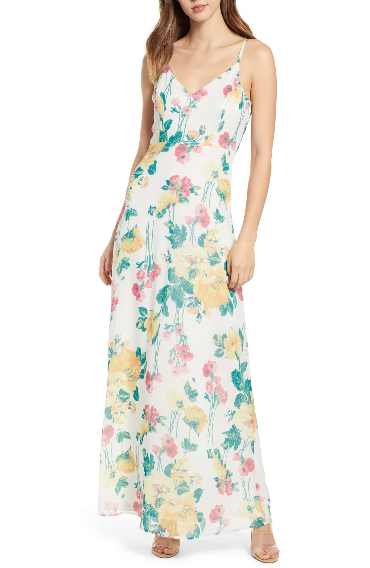 Leith Floral Covered Button Maxi Dress