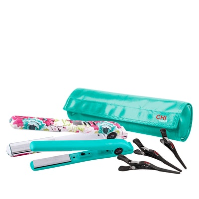 "CHI Floral Pink Smart GEMZ 1"" Flat Iron & Travel Iron w/Clips and Bag"
