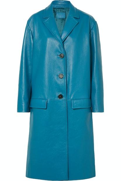 Oversized Textured Leather Coat