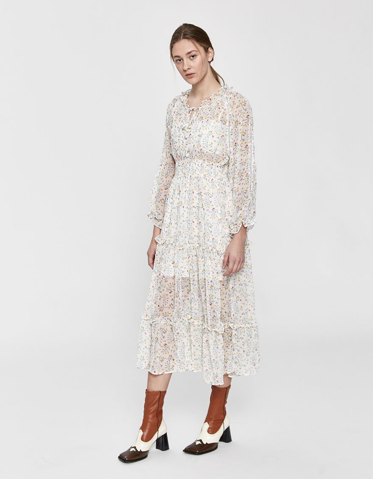 Farrow Luciana Floral Tiered Maxi Dress in White