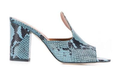 Paris Texas Snakeskin Print Mule Sandals