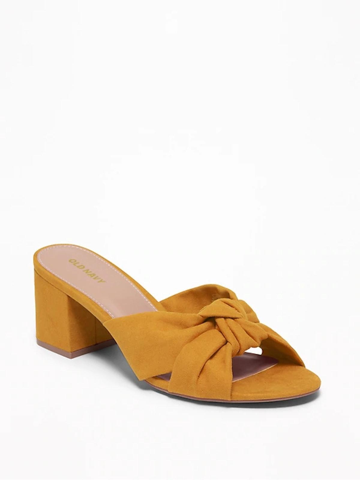 Sueded Block-Heel Mules for Women