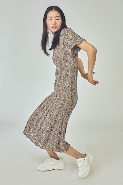 Tweedle Cheongsam Dress In Black Tweed
