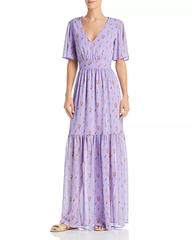 Re:Named Tashsa Ruffled Floral-Print Maxi Dress
