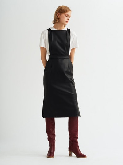 Evelyn Faux Leather Pinafore Dress