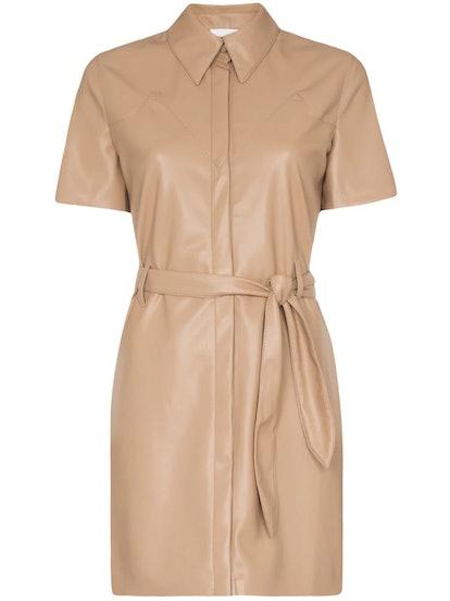 Roberta Button-Front Vegan Leather Dress