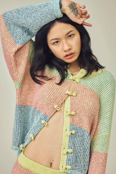 Two Tone Tweed Striped Knit Jacket In Multicolor