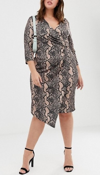 River Island Wrap Dress With Buckle Detail In Snake Print