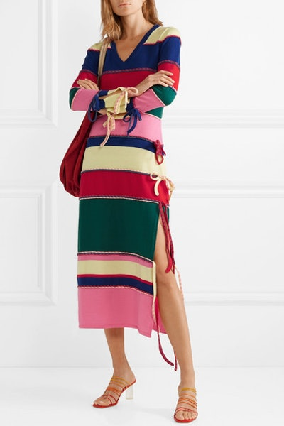 Striped Wool Midi Dress