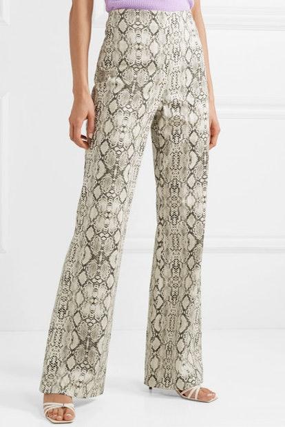 Snake-Print Cotton Straight-Leg Pants