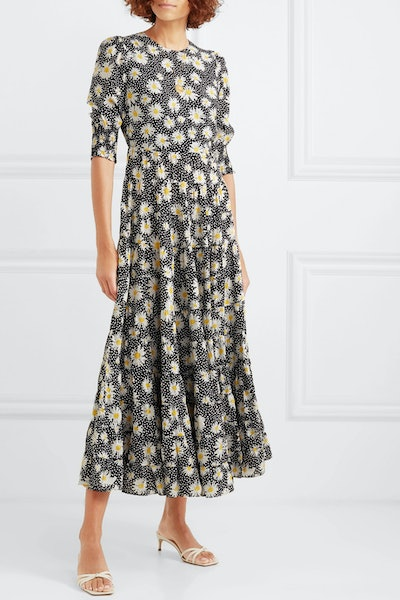 Kristen Tiered Floral-Print Cotton And Silk-Blend Dress