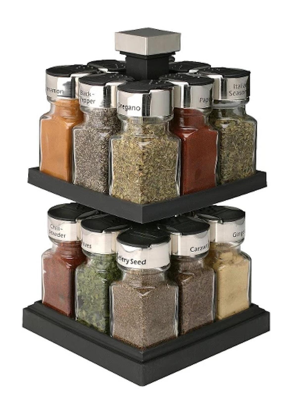 Square Rotating 16 Jar Spice Rack - Olde Thompson