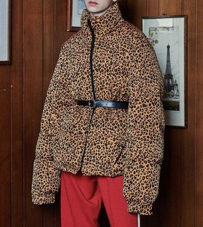 Oversized Duckie Puffer Jacket in Leopard