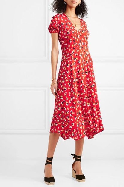 Hana Floral-Print Crepe Wrap Dress