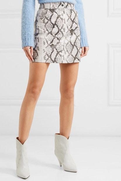 Snake-Print Leather Mini Skirt