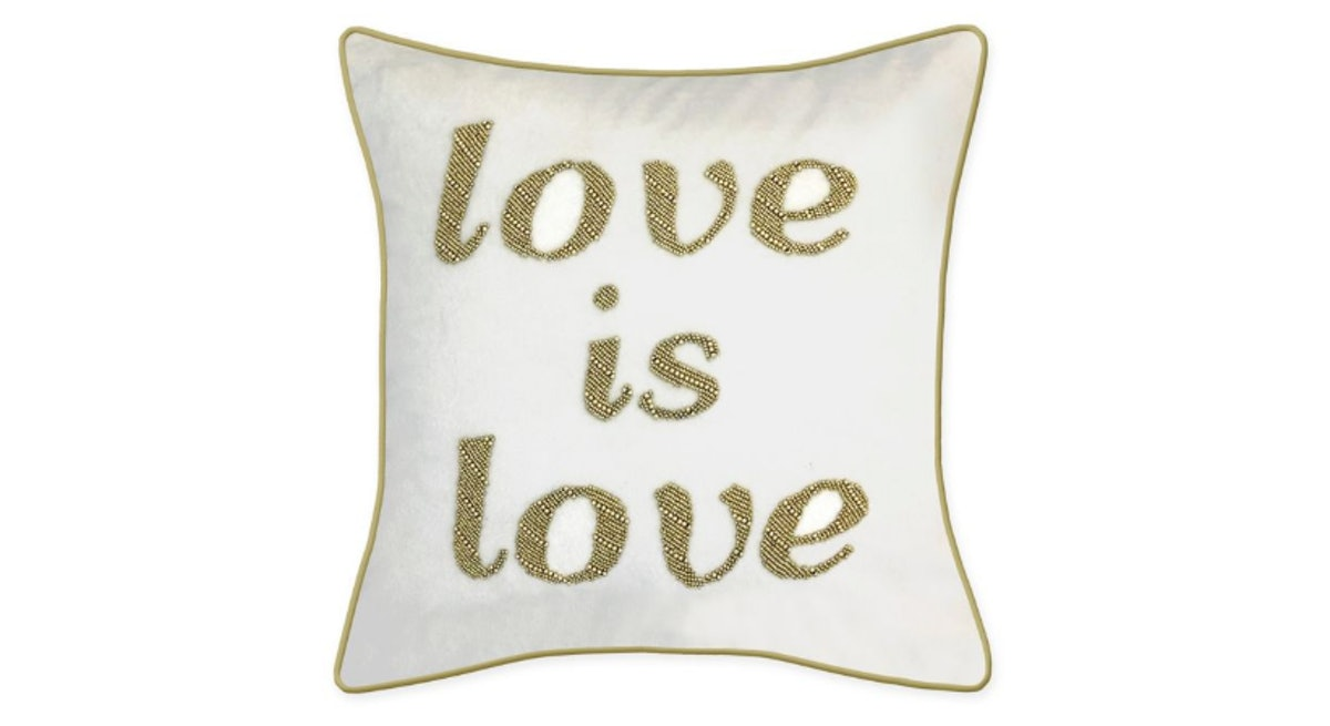 """Edie @ Home """"Love is Love"""" Square Throw Pillow in Oyster"""