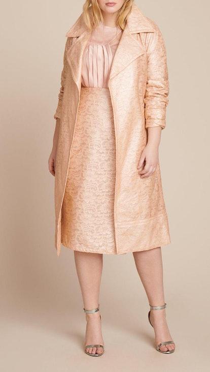 Laminated Lace Trenchcoat