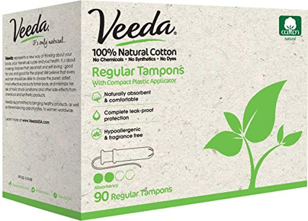 Veeda All-Natural Cotton Tampons (90-Count)