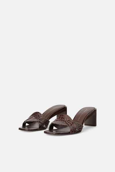 Animal Embossed Leather Heeled Mules