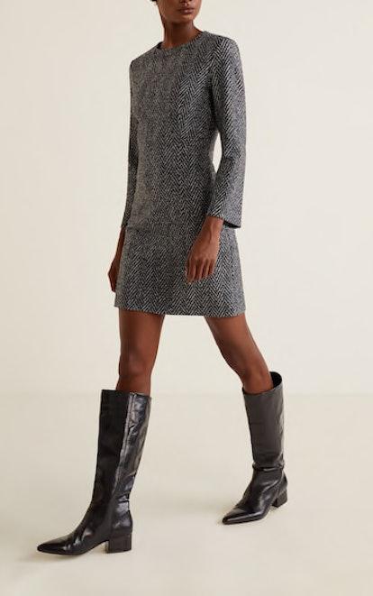 Herringbone Wool-Blend Dress
