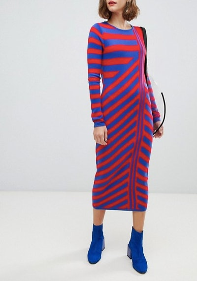 Knitted Dress in Cut Stripe