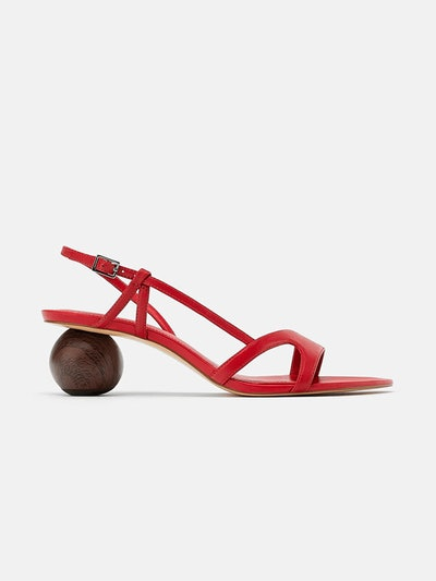 Rounded Heeled Leather Sandals
