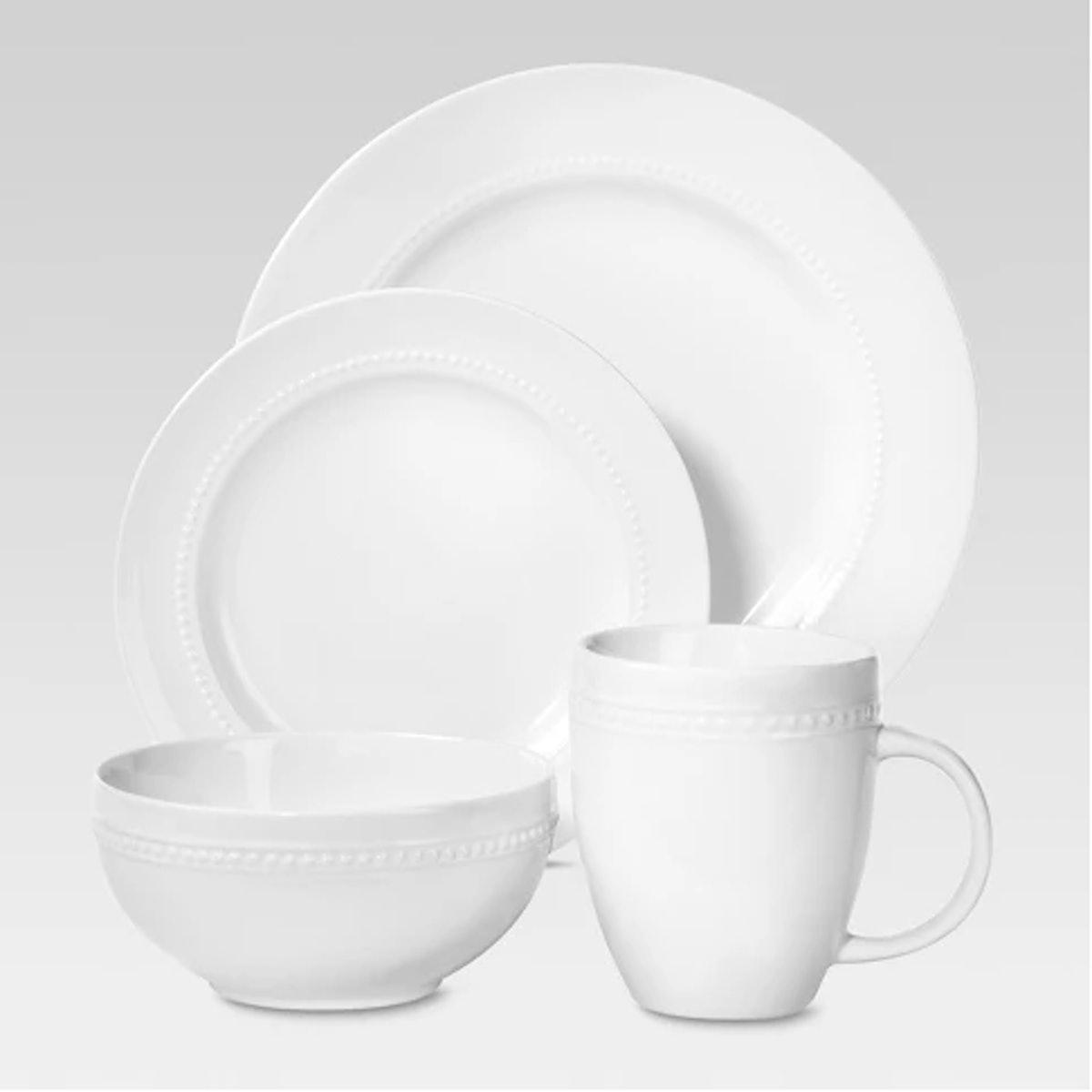 Porcelain 16pc Dinnerware Set White Beaded Rim - Threshold™