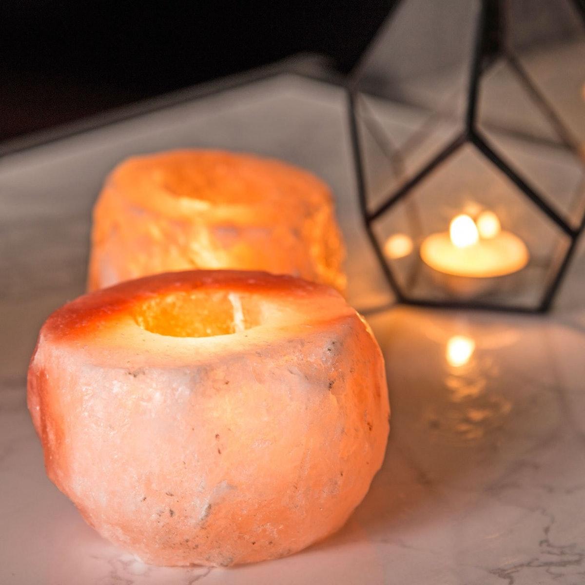 Crystal Allies Himalayan Salt Tea Light Candle Holders (2 Pack)
