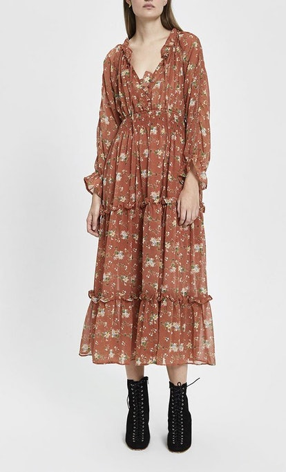 Luciana Floral Tiered Maxi Dress In Terracotta