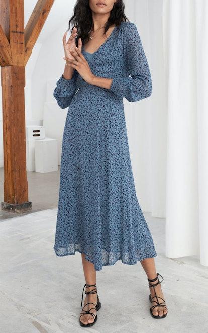 Sheer Printed Midi Dress