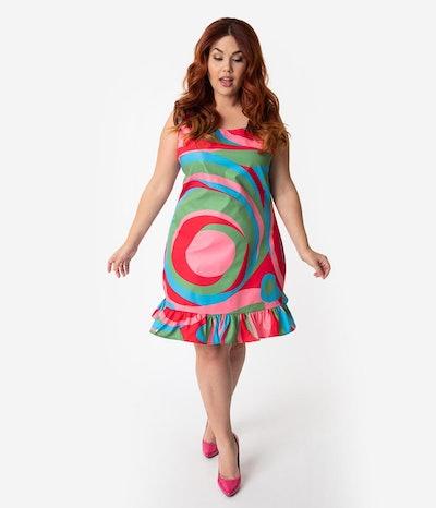 Barbie x Unique Vintage Plus Size 1960s Style Swirly Cue Shift Dress