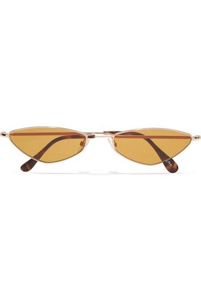 Eliza Oval-Frame Gold-Tone Sunglasses