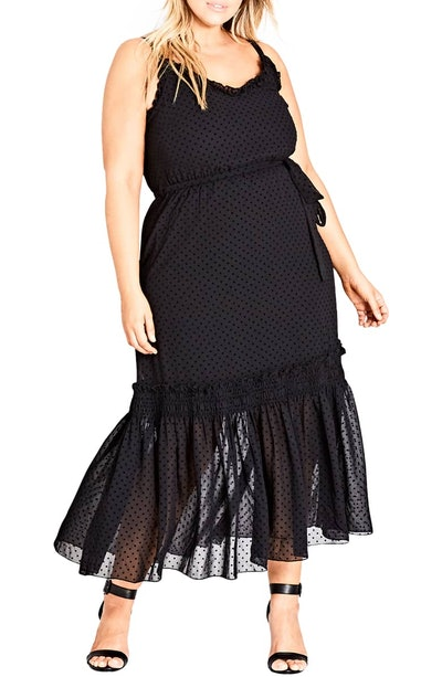 Flocked Spot Maxi Dress