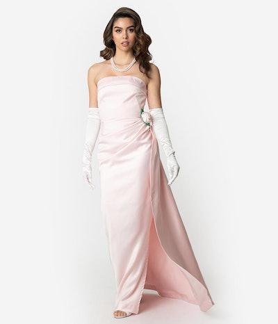 Barbie x Unique Vintage Pink Satin Strapless Enchanted Evening Gown