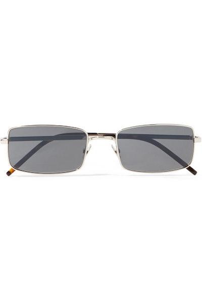 Square-Frame Silver-Tone Sunglasses