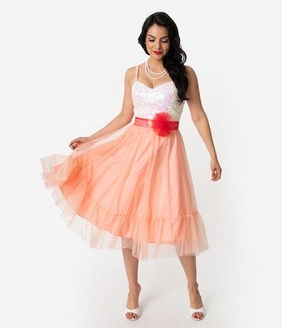 Barbie x Unique Vintage Peaches N Cream Chiffon Dress