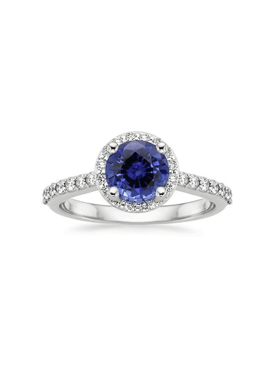 Sapphire Halo Diamond Ring with Side Stones